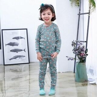 Kids Dream Girls Blue Floral Print Isabella 2 Pc Sleepwear Set - 4