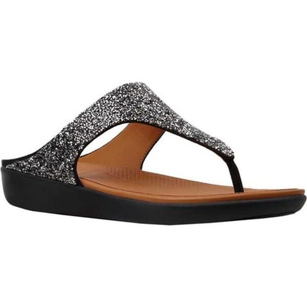 f89ba0f2447d Shop FitFlop Women s Banda II Thong Sandal Black Quartz PU - Free ...