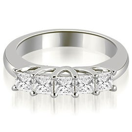 0.60 cttw. 14K White Gold Five Stone Princess Cut Diamond Wedding Band