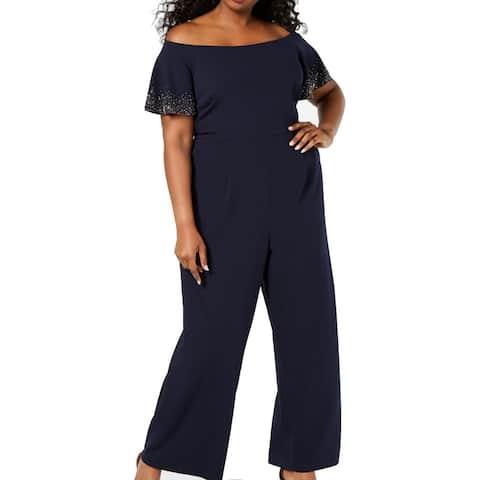 Calvin Klein Women's Jumpsuit Blue 14W Plus Off Shoulder Embellished