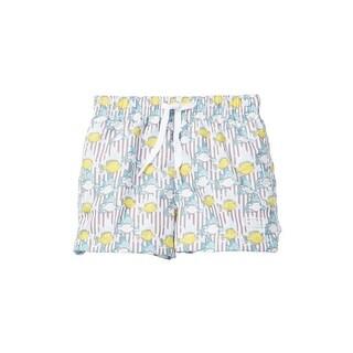 Azul Baby Boys Khaki Lemon Fish Print Elastic Band Drawstring Swim Shorts - 12-18 months