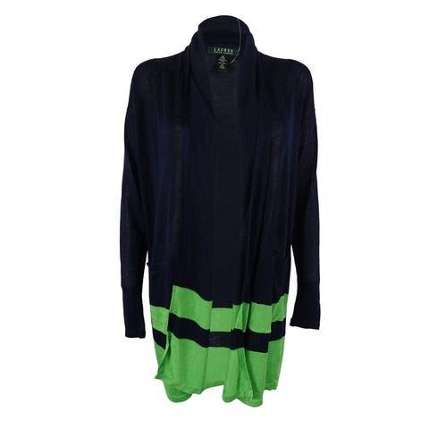 Ralph Lauren Women's Linen Blend Cardigan Sweater - Navy/Green