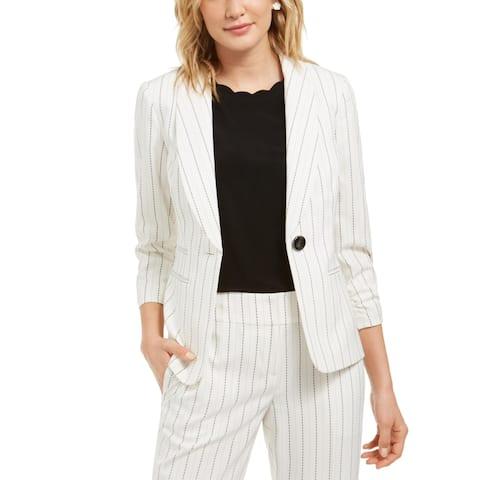Kasper Womens One-Button Blazer Stitch Stripe Suit Separate - Vanilla Ice/Black
