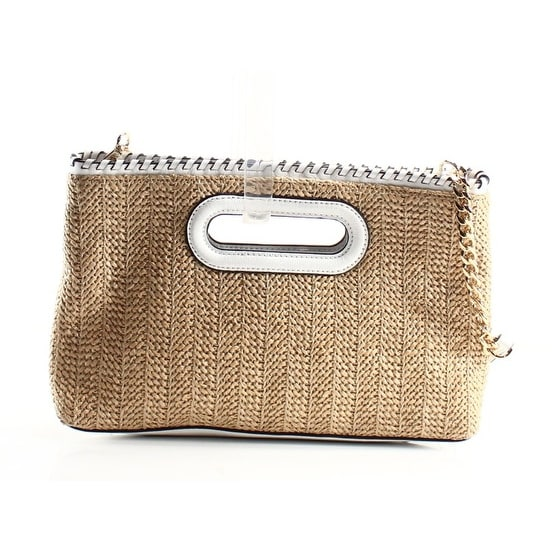 2e6cf053ac46cc Shop Michael Kors NEW Beige White Straw Leather Rosalie Clutch Bag ...