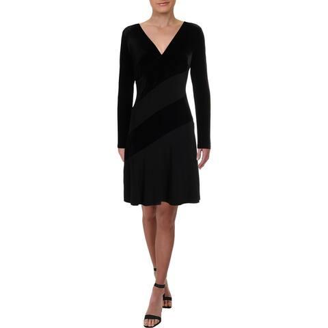 Lauren Ralph Lauren Womens Elvarina Party Dress Velvet Surplice