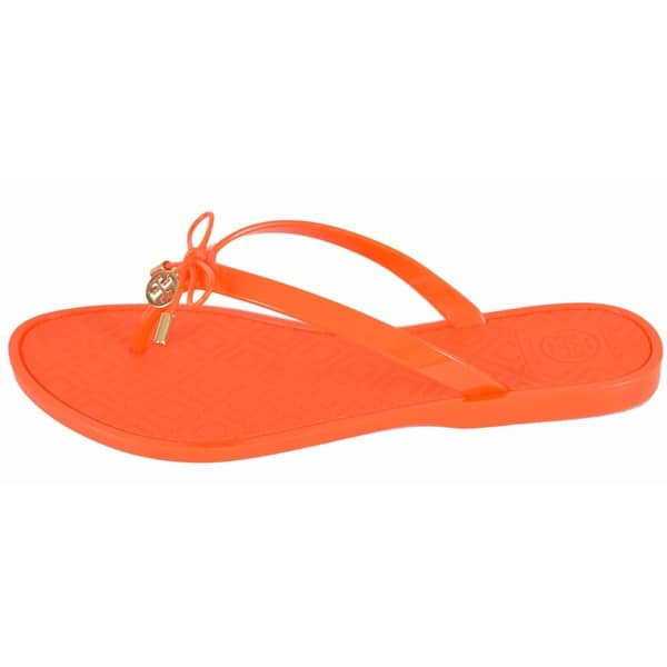 efa75116831f Tory Burch Women s Poppy Jelly T Logo Bow Tie Thong Sandals Shoes SIZE ...