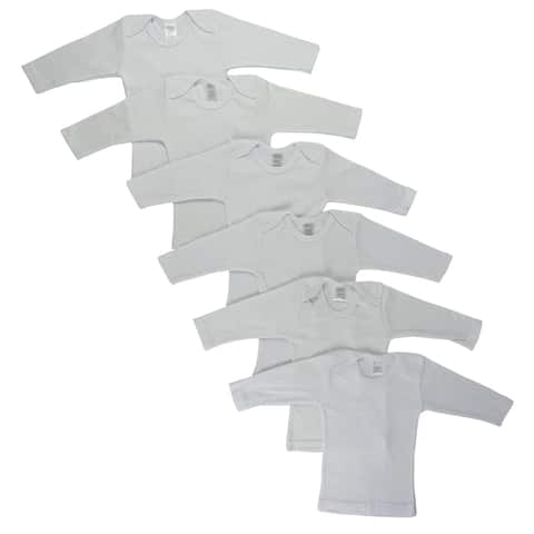 "Set of 6 White Small Long Sleeve Lap T-shirts, 8"""