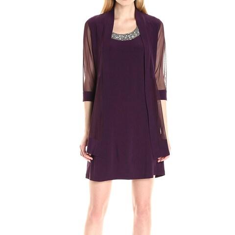 R&M Richards Plum Purple Womens Size 6 Mesh-Sleeve Sheath Dress