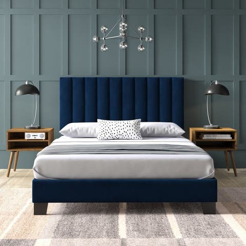 Picket House Furnishings Colbie Upholstered Queen Platform Bed with Nightstands in Navy