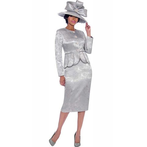 Terramina Women's 2 piece Occasion Church Skirt Suit (Hat is not included )