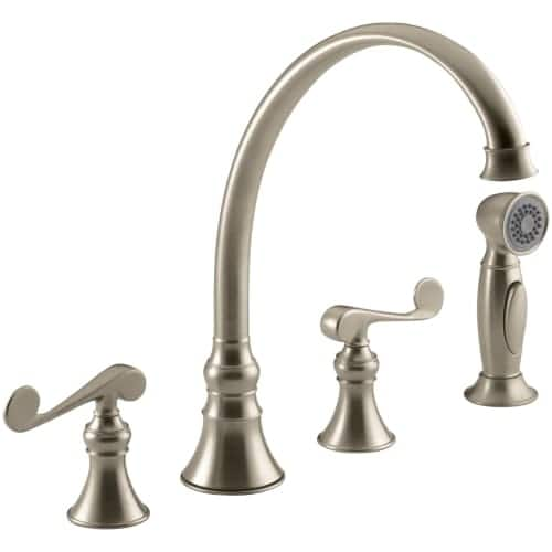 Kohler K 16109 4 Revival Widespread High Arch Gooseneck Kitchen Faucet Includes Metal Scroll Handles And Sidespray