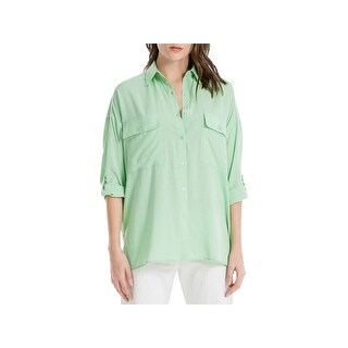 Max Studio Womens Marion Button-Down Top Solid Pockets