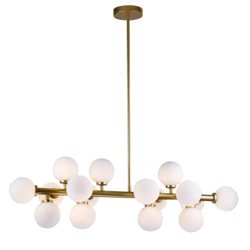 Bethel international mu29 16 light 35 3 8 wide linear chandelier with glass