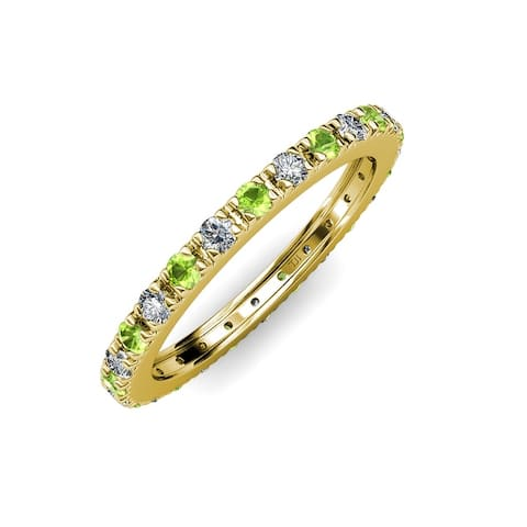 TriJewels Peridot Lab Grown Diamond 1 ctw Women Eternity Ring 14K Gold