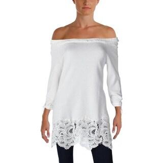 Grey State Womens Charlotte Sweatshirt Lace Trim Off-The-Shoulder