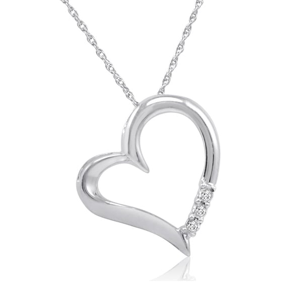 Amanda Rose Three Stone Diamond Heart Pendant-Necklace in Sterling Silver on an 18inch Chain