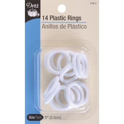 """Plastic Rings 1"""" 14/Pkg-White - White"""