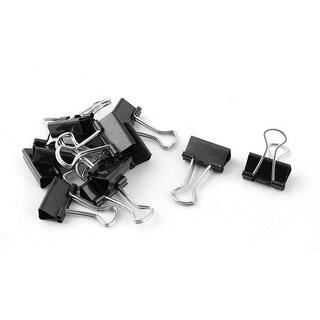 Office Supplies Student Folder Paper Money Binder Clip Black Silver Tone 12pcs