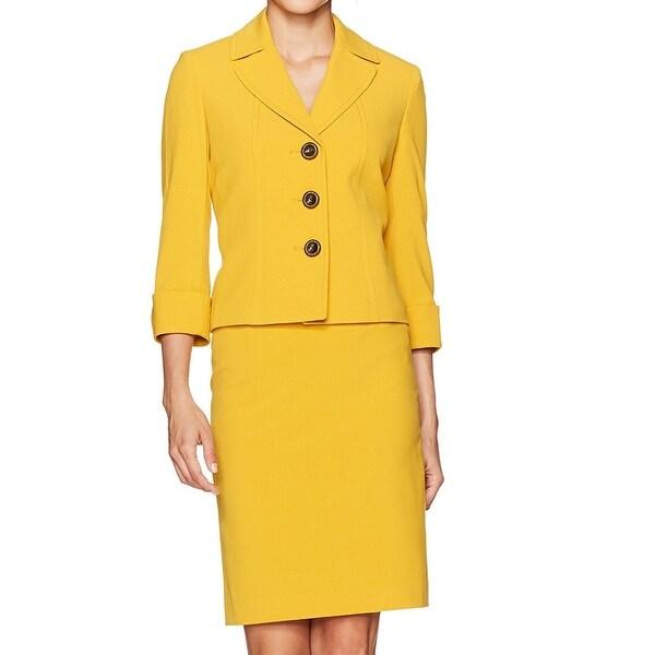 346c9537fea Shop Tahari By ASL Yellow Womens Size 8 Notched-Lapel Skirt Suit Set ...