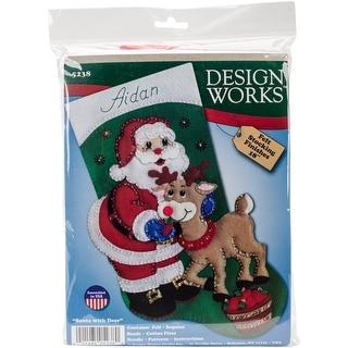 "Santa & Deer Stocking Felt Applique Kit-18"" Long"