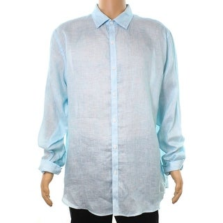 Tasso Elba Aqua Blue Mens Size XL 17-17 1/2 Button Down Shirt