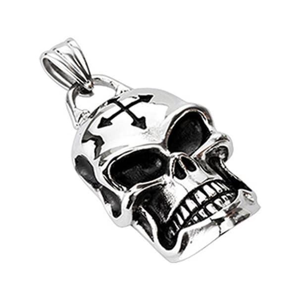 Stainless Steel Barbed Cross Rider Skull Pendant (25 mm Width)