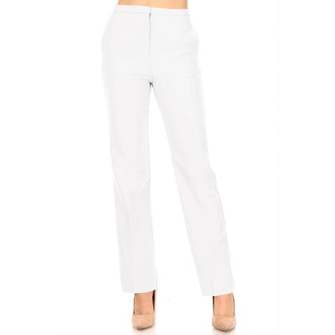 Women's Casual Straight Woven Dress Pants for Office Work