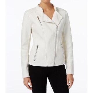 Calvin Klein NEW White Womens Size Medium M Faux-Leather Moto Jacket