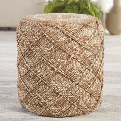 Mikel Natural Beige/ White Cylinder Pouf