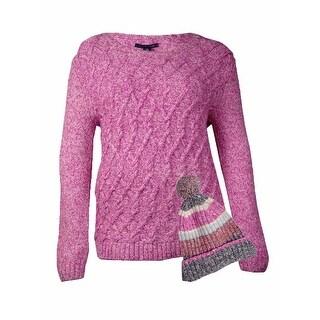 Tommy Hilfiger Women's Cable Knit Pom Pom Hat & Sweater (XL, Rose Violet) - XL