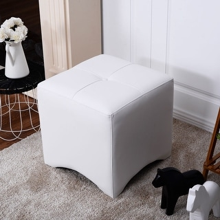 Costway PU Leather Square Cube Ottoman FootStool Rest Seating Home Furniture White
