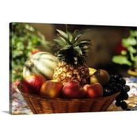 Premium Thick-Wrap Canvas entitled bowl of summer fruit - Multi-color