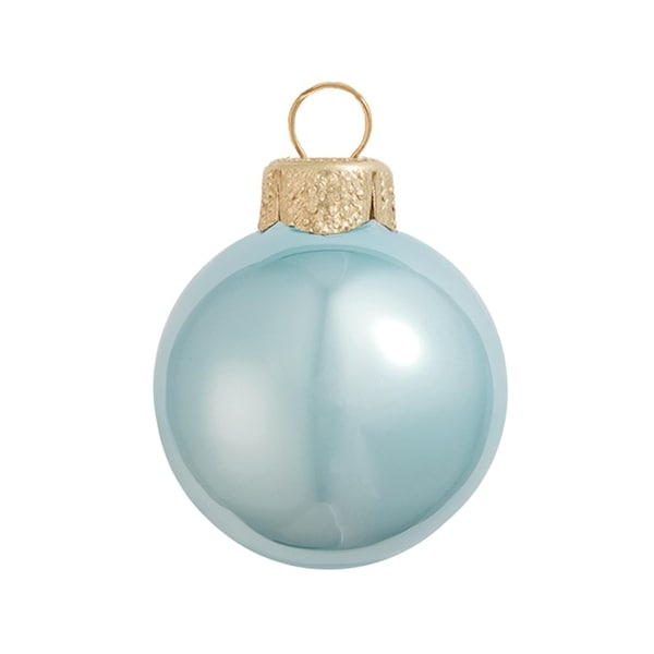 "8ct Pearl Sky Blue Glass Ball Christmas Ornaments 3.25"" (80mm)"