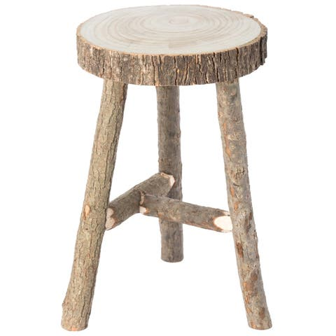 Decorative Antique Log Cabin Natural Wooden Accent Stool Side Table