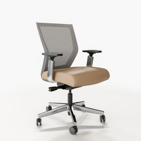 Run II, Ergonomic Mid- Back Mesh Office Chair, Contract Grade, Polished Aluminum Frame, Genuine Leather Seat
