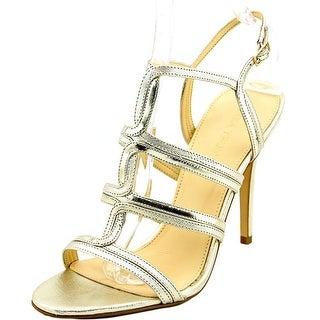 Ivanka Trump Hazen Women Open Toe Patent Leather Gold Sandals