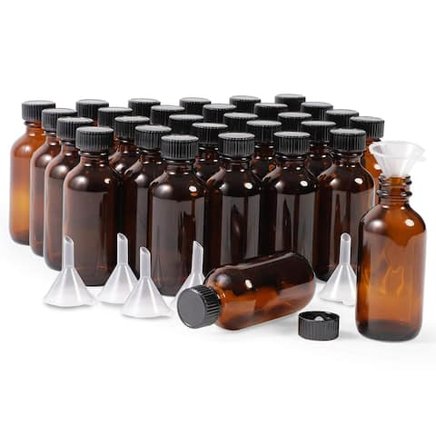 30 Pack 2oz Amber Glass Bottles with Lids and 6 Funnels for Storing Liquid - 30 Pack