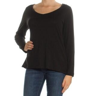 Womans Black Long Sleeve Scoop Neck Top Size M