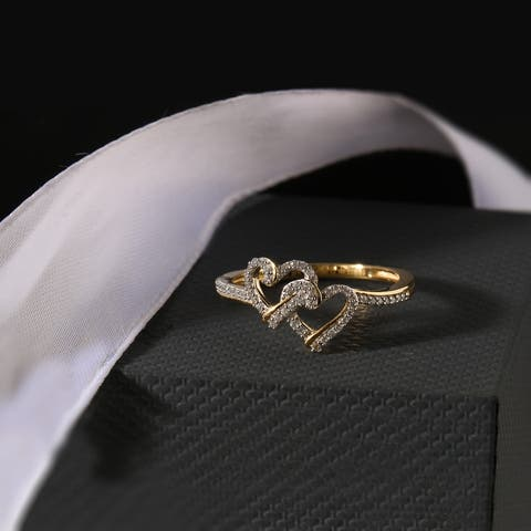 1/8ct TDW Diamond Double Heart Ring in 10k Gold