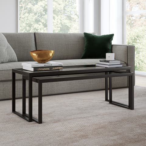 Silver Orchid Goetz Blackened Bronze Nested Coffee Table