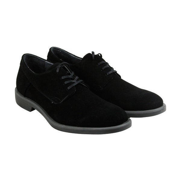 Calvin Klein Yago Suede Mens Black Canvas Casual Dress Oxfords Shoes