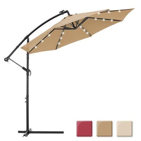 10 ft. Steel Market Tilt Patio Solar Umbrella LED with Crank