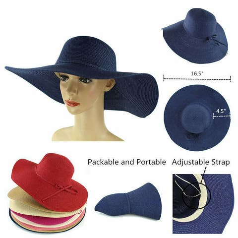 beadbe3d Women's Summer Large Floppy Folding Wide Brim Cap Sun Straw Beach Hat