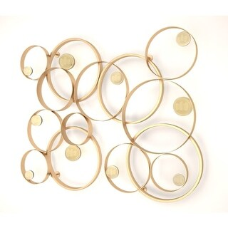 Van Teal 635595 38 Inch x 47 Inch Spin Wheels Metal Wall Décor - Gold