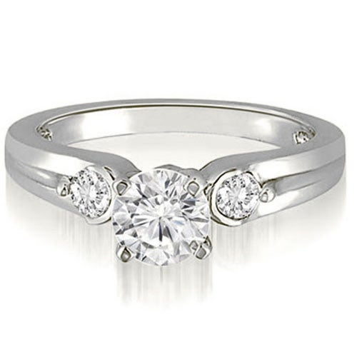 0.70 cttw. 14K White Gold Three-Stone Round Cut Diamond Engagement Ring