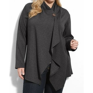Bobeau NEW Charcoal Gray Women's 2X Plus One-Button Cardigan Sweater