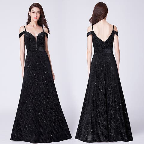 Ever-Pretty Women's Cold Shoulder Velvet Glitter Formal Evening Party Dress 07395