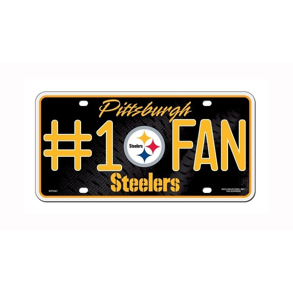 3585425d677 Shop NFL Pittsburgh Steelers Number 1 Fan Metal Auto Tag - Free Shipping On  Orders Over  45 - Overstock - 21449423