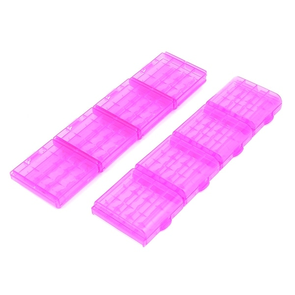 8PCS Plastic Portable Case Holder Storage Box Purple for 4 x 1.5V AA Batteries