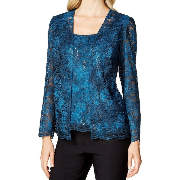 Alex Evenings NEW Blue Women's Size Small S Lace Mock Twinset Sweater